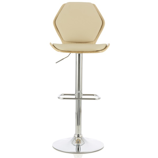 Melanie Bar Stool In Oak And Cream PU With Chrome Base
