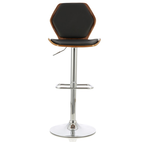 Melanie Bar Stool In Walnut And Black PU With Chrome Base