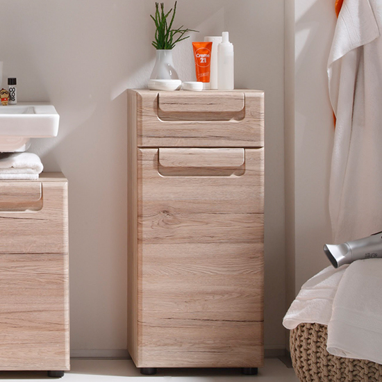 Melay Floor Small Bathroom Storage Cabinet In San Remo Oak
