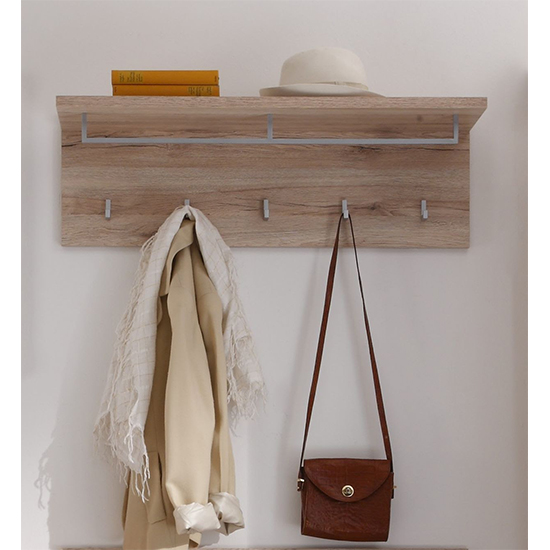 Melay Wooden Coat Rack With Shelf In San Remo Light Oak