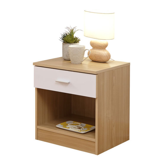 Melbourne Wooden Bedside Cabinet In High Gloss White And Oak