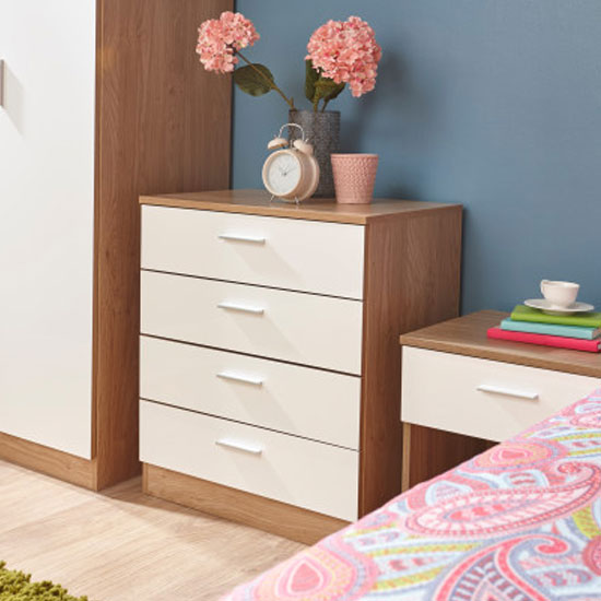 Melbourne Wooden Chest Of Drawers In High Gloss White And Oak_2