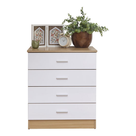 Melbourne Wooden Chest Of Drawers In High Gloss White And Oak_3