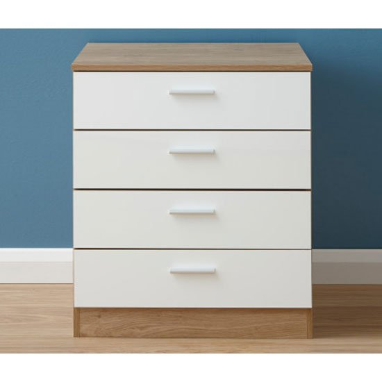 Melbourne Wooden Chest Of Drawers In High Gloss White And Oak_1