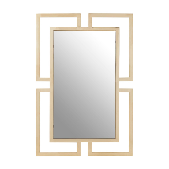 View Meleph modern wall mirror with gold stainless steel frame