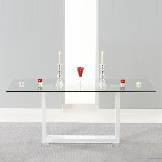 Melinda Glass Dining Table In Clear And White High Gloss Legs
