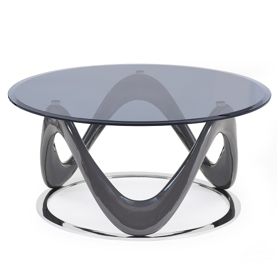 Melio Glass Coffee Table With Grey Gloss And Polished Ring Base