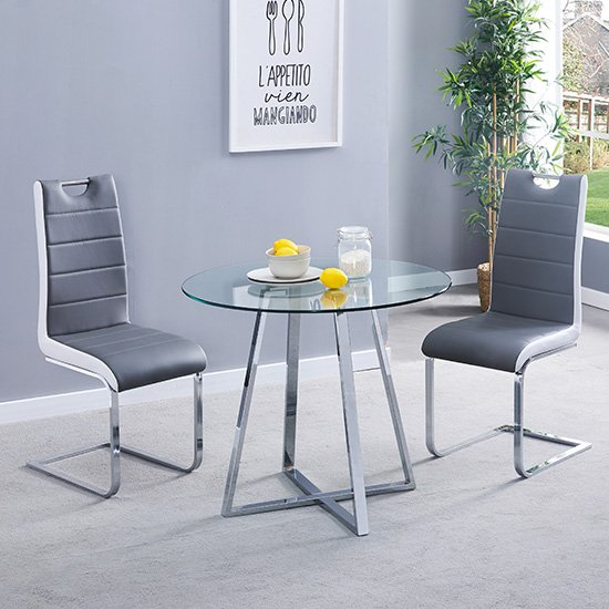 Melito Clear Round Dining Table With 2 Petra Grey White Chairs