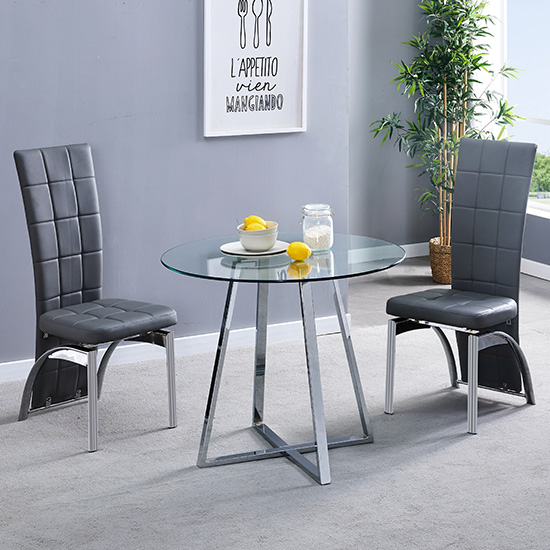 View Melito clear round dining table with 2 ravenna grey chairs