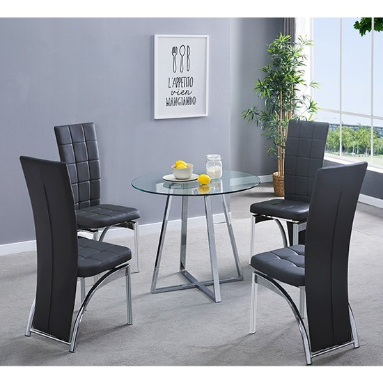 Melito Clear Round Dining Table With 4 Ravenna Black Chairs