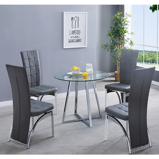 Melito Clear Round Dining Table With 4 Ravenna Grey Chairs