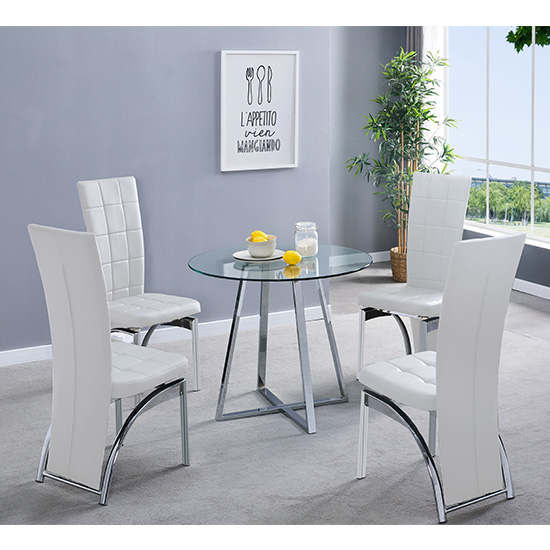 Melito Clear Round Dining Table With 4 Ravenna White Chairs