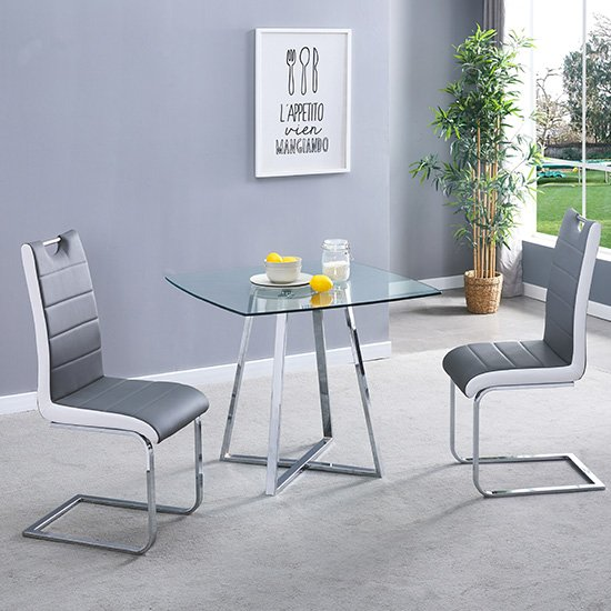 View Melito clear square dining table with 2 petra grey white chairs