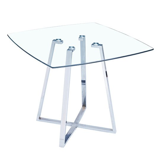Melito Clear Square Dining Table With 4 Ravenna White Chairs_2