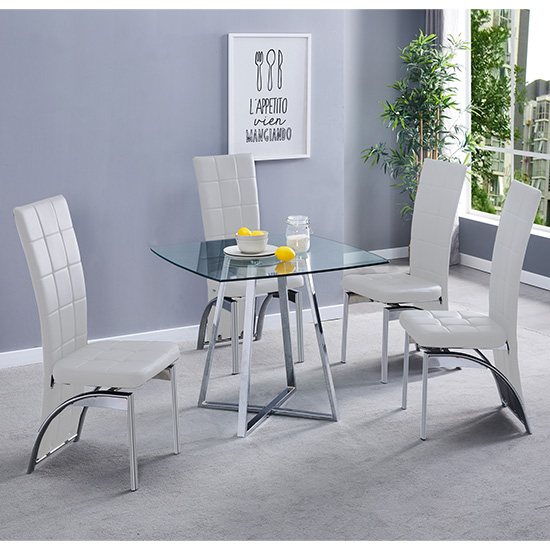Melito Clear Square Dining Table With 4 Ravenna White Chairs