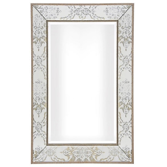 Melodie Rectangular Wall Mirror With Champagne Beaded Trimming