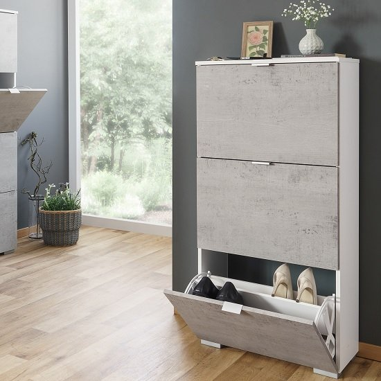 Melone Shoe Cabinet In White And Concrete Effect Fronts_1
