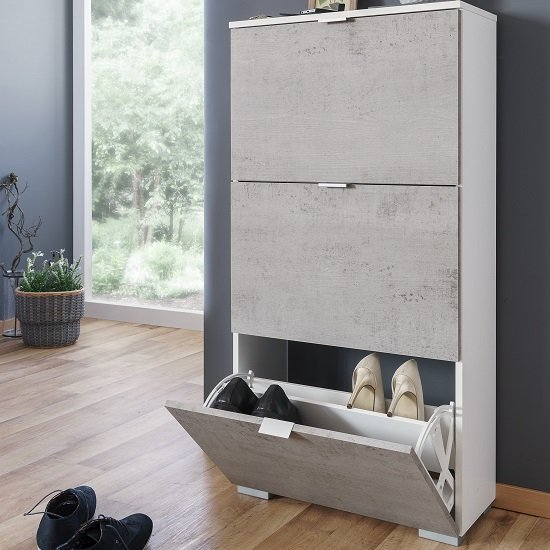Melone Shoe Cabinet In White And Concrete Effect Fronts_3