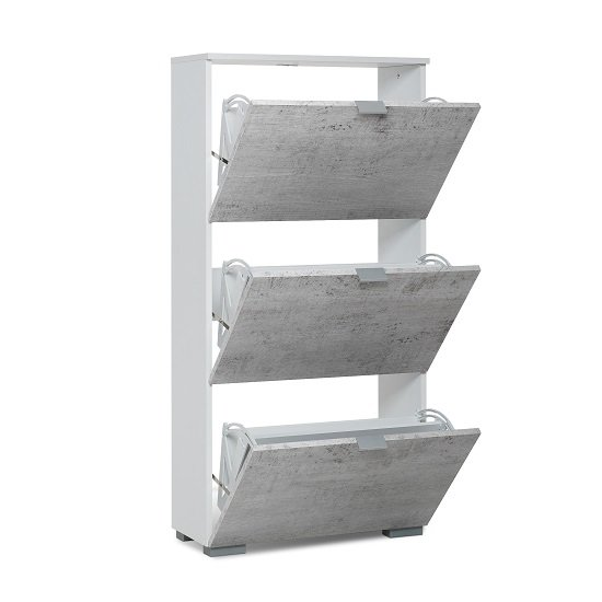 Melone Shoe Cabinet In White And Concrete Effect Fronts_2