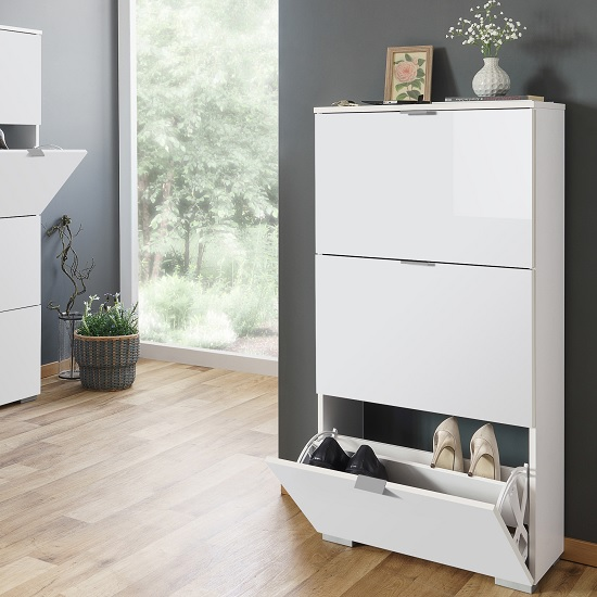 Melone Modern Shoe Cabinet In White And High Gloss Fronts_1