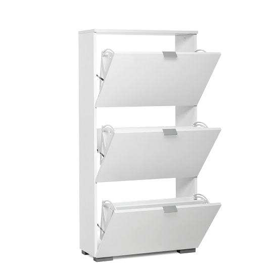 Melone Modern Shoe Cabinet In White And High Gloss Fronts_2