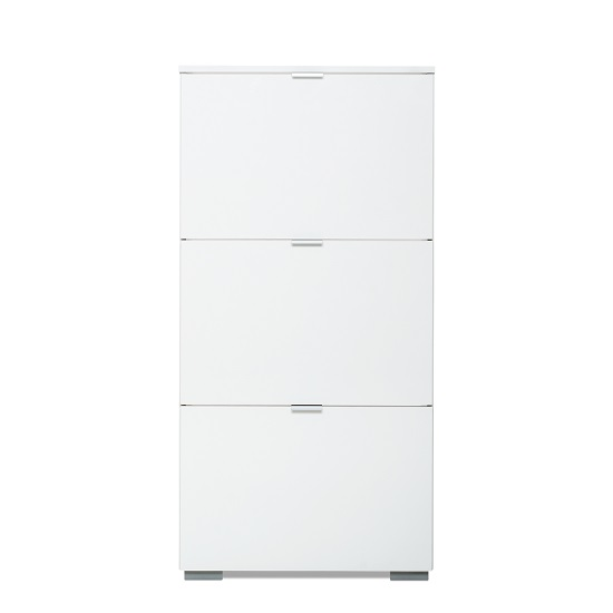 Melone Modern Shoe Cabinet In White And High Gloss Fronts_3