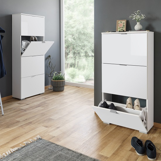 Melone Modern Shoe Cabinet In White And High Gloss Fronts_4