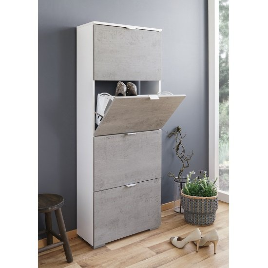 Merveilleux Melone Shoe Cabinet Tall In White And Concrete Effect Fronts_1