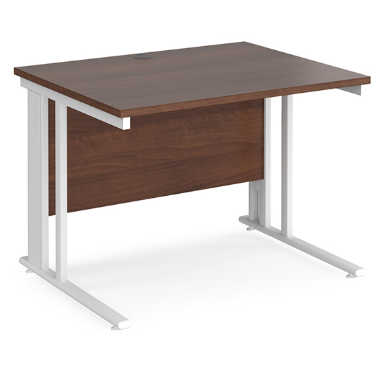 Melor 1000mm Cable Managed Computer Desk In Walnut And White_1