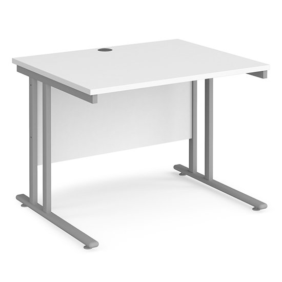 Melor 1000mm Cantilever Wooden Computer Desk In White And Silver