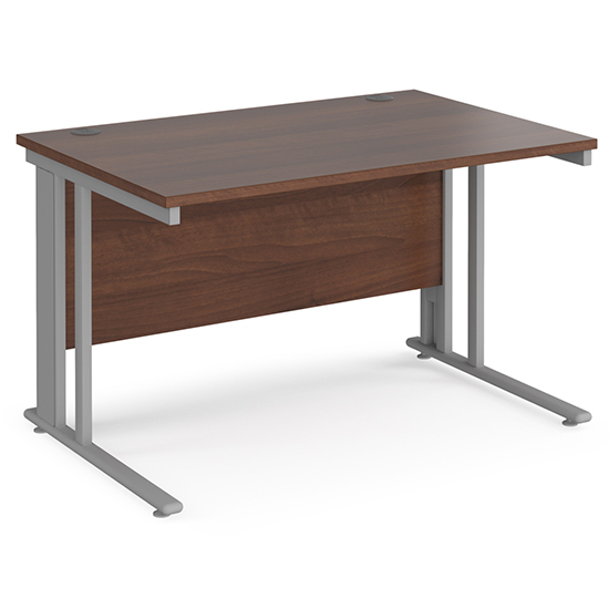 Melor 1200mm Cable Managed Computer Desk In Walnut And Silver