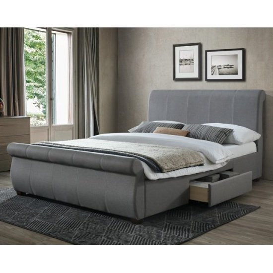 Melrose Fabric Double Bed In Grey With 2 Drawers