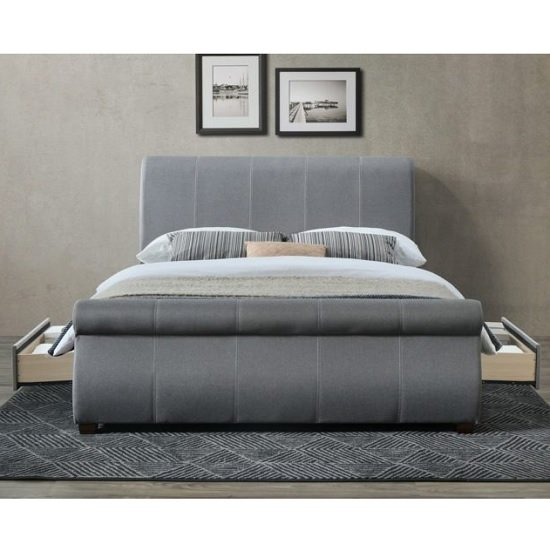 Melrose Fabric Double Bed In Grey With 2 Drawers_2