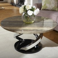 Melrose Coffee Table In Marble Effect Top With Chrome Base