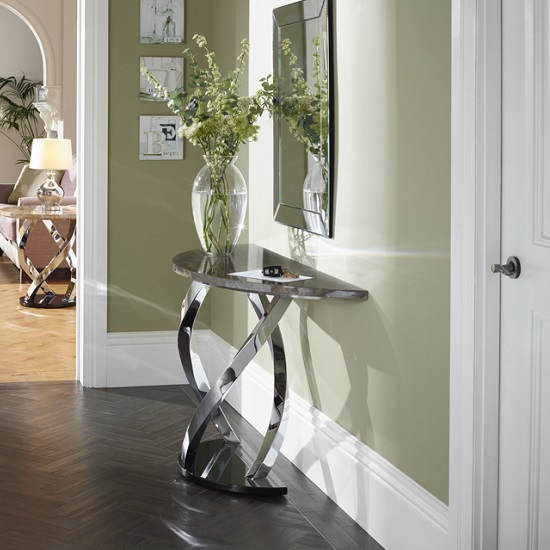 Melrose Console Table In Marble Effect Top With Chrome Base