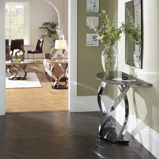Marble Effect Coffee Table: Melrose Coffee Table In Marble Effect Top With Chrome Base