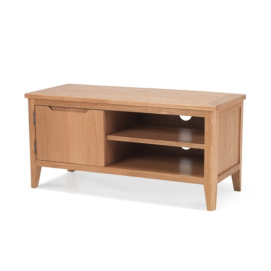 Melton Wooden TV Stand In Natural Oak With 1 Door