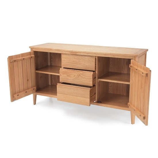 Melton Wooden Sideboard Wide In Natural Oak With 2 Doors_2