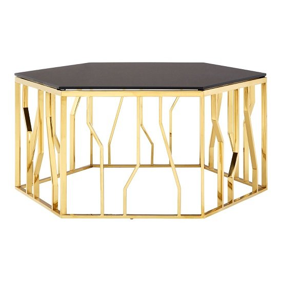Melville Glass Coffee Table Hexagonal In Black With Gold Frame