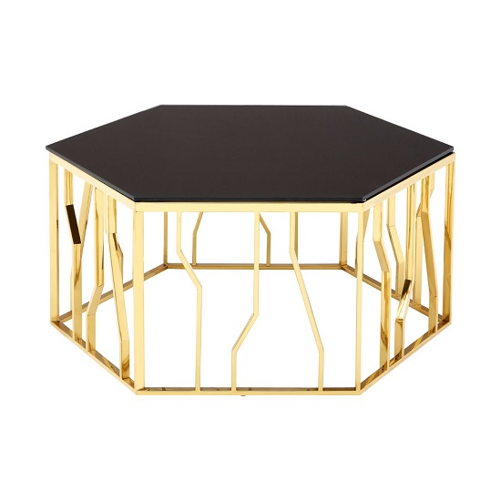 Melville Glass Coffee Table Hexagonal In Black With Gold Frame_2