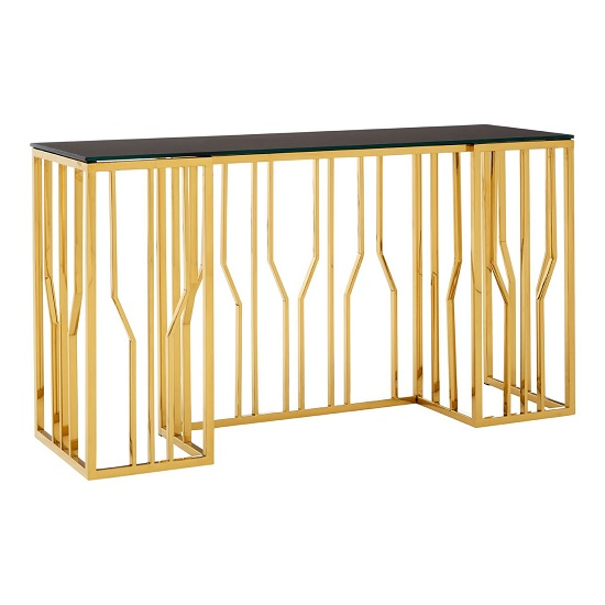Melville Glass Console Table In Black With Gold Finish Legs