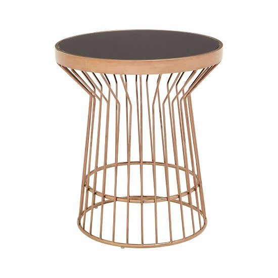 Melville Glass Side Table In Black With Copper Finish_2