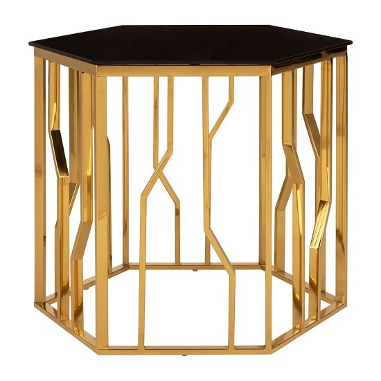 Melville Glass Side Table Hexagonal In Black With Gold Frame