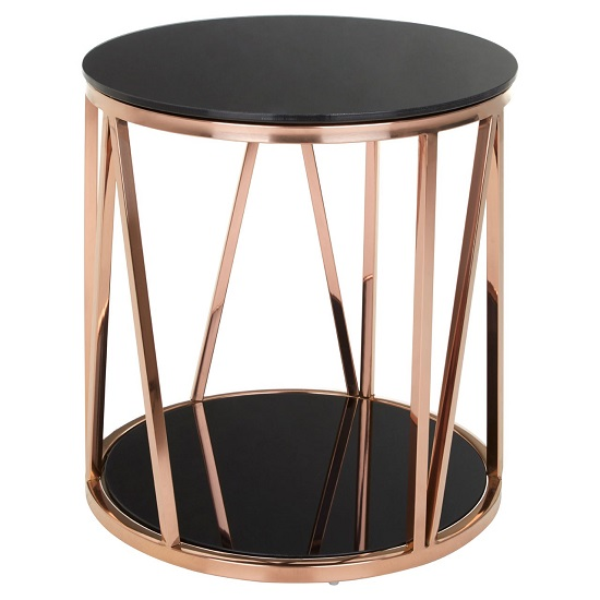 Melville Gl Side Table Round In Black With Rose Gold Frame