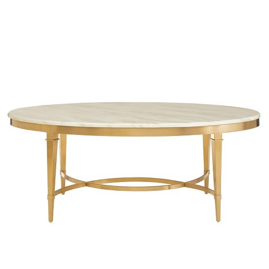 Melville Marble Coffee Table Oval In White With Gold Finish Legs