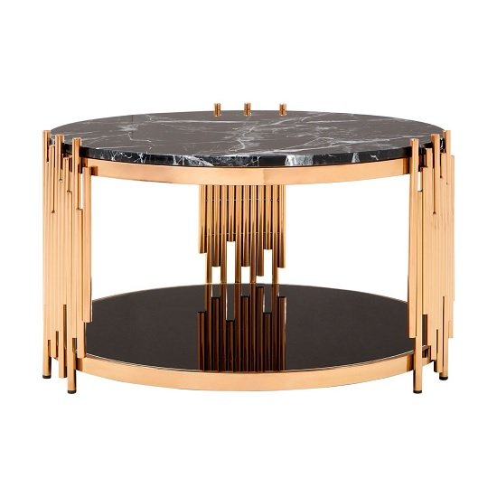 Melville Marble Coffee Table Round In Black With Rose Gold