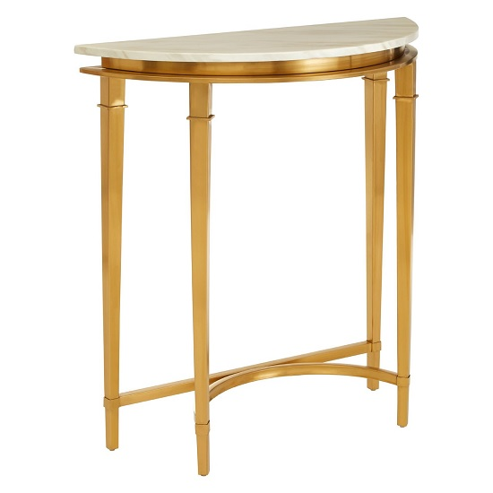 View Melville marble half moon console table in white and gold legs