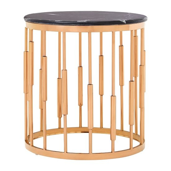 Melville Marble Top Side Table In Black With Copper Finish