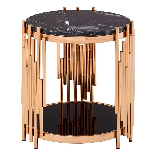 Melville Marble Side Table Round In Black With Rosegold Frame_2
