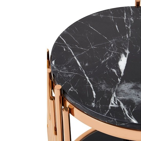 Melville Marble Side Table Round In Black With Rosegold Frame_3